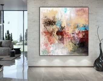 Large MODERN ABSTRACT OIL PAINTING on Canvas Contemporary Wall Art Framed art120