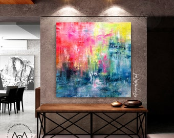 Colorful Canvas Art - Custom Painting, Office Wall Art, Handmade Acrylic Painting, Colorful Wall Art