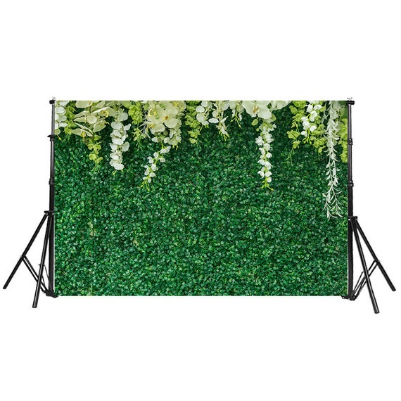 15x10ft Beautiful Flowers Green Ivy Wall Vinyl Photography Background Green Leaves Stone Wall Wedding Backdrop Party Decoration Banner Photo Studio Prop