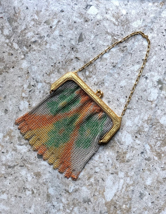 1920s Whiting & David Painted Metal Chain Mail Pur