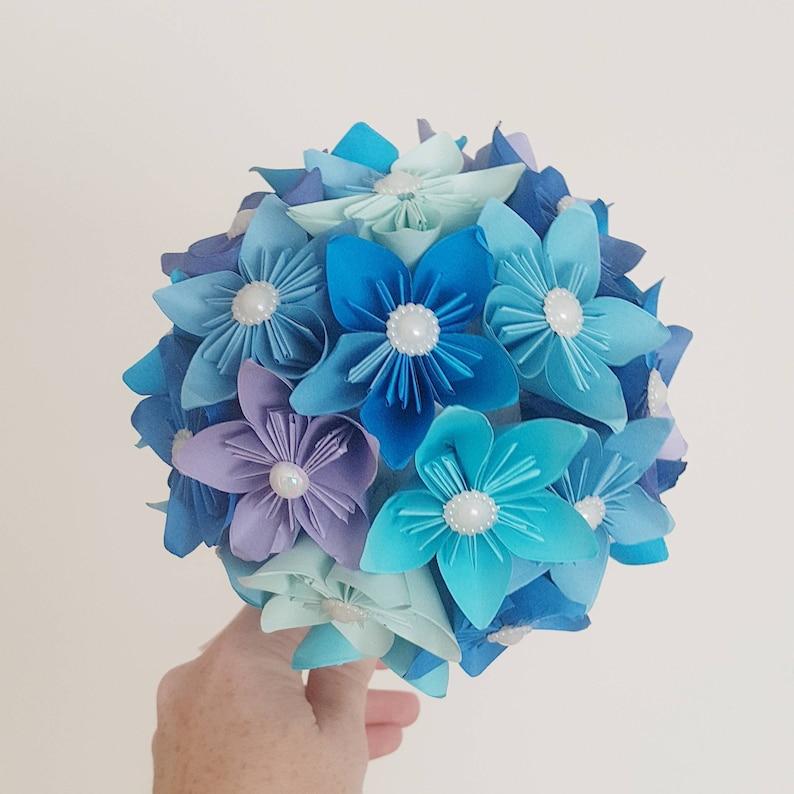 bride origami bouquet Custom wedding paper flower bouquet ball blue theme Paper wedding anniversary gift bridesmaid bouquet