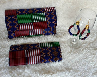 African purses with a matching wallet and earrings,African print bag,African purses, women purses christmass gift for her, birthday gift.