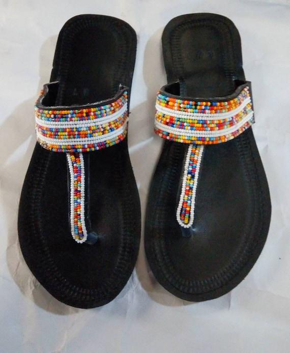 African sandals, women sandals, Masai sandals, flat shoes, beaded shoes,