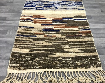 7/'4 x 4/'8 Turquoise Moroccan Berber Tribal Kilim Rug Modern Tribal Handwoven Rug Amazigh