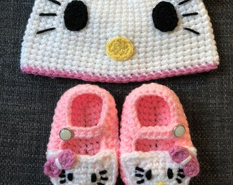 8cf67d395 Hello Kitty-Inspired Baby Beanie and Shoes, Hello Kitty Hat, Hello Kitty  Shoes, Crochet, Baby Booties