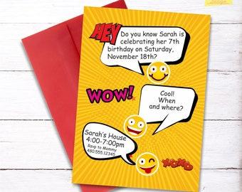 Emoji Birthday Party Invitation DIGITAL FILE Personalized Printables Girls Invite Templates Emoticons
