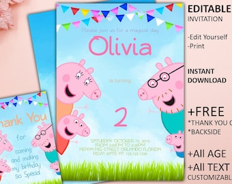 Peppa Pig Invitation Birthday Party Printable Invite INSTANT DOWNLOAD