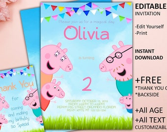 Peppa Pig Invitation Birthday Party Printable