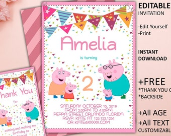 Peppa Pig Invitation Birthday Party Printable INSTANT DOWNLOAD