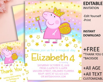 Peppa Pig Invitation Birthday Party Printable Invite Fairy INSTANT DOWNLOAD