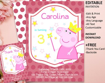 Peppa Pig Invitation Birthday Party Printable Girl Fairy Invite INSTANT DOWNLOAD