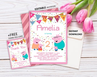 Peppa Pig Invitation Instant Download