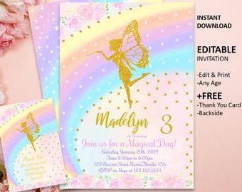 Fairy Invitation Birthday Party Printable Girl Magical INSTANT DOWNLOAD