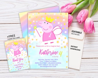photo about Peppa Pig Printable Invitations identified as Peppa pig invitation Etsy