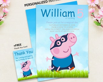 George Pig Invitation Birthday Party Printable Boy Invite PERSONALIZED
