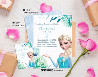 image about Free Printable Frozen Invites named Frozen invitation Etsy