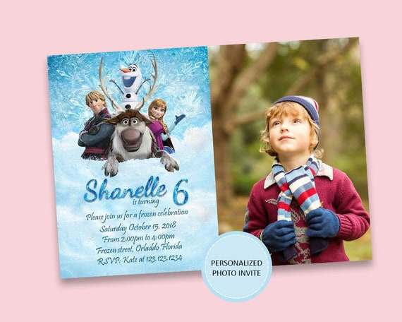 Frozen Invitation Photo Anna Birthday Elsa Printable Personalized File