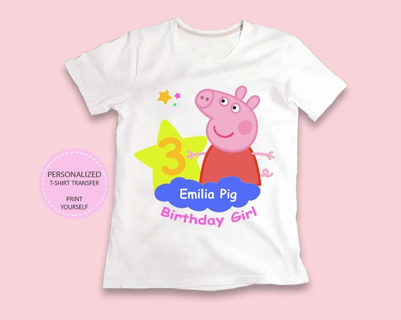Peppa Pig Shirt Birthday Girl T Transfer YOU