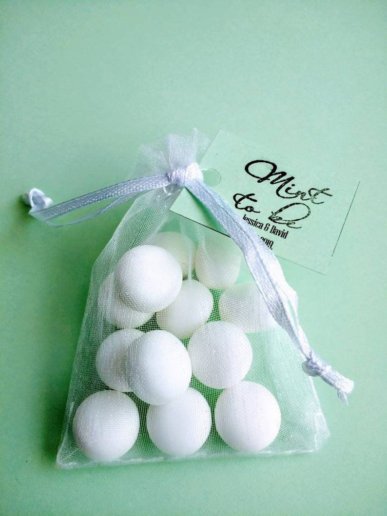 Mint sweets in organza bags Personalized wedding favour thank you gift party favour