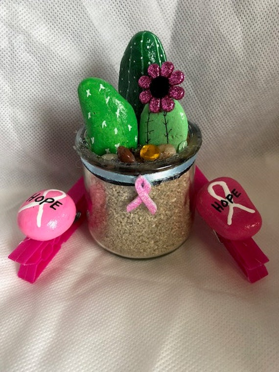 Breast Cancer Awareness Painted Rocks