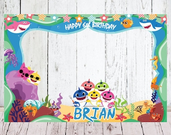 Baby Shark Birthday Photo Booth Frame Props Signs Frames Party