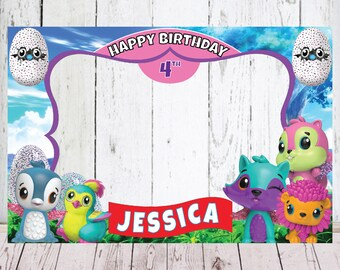 Hatchimals Photo Booth Birthday Backdrops Selfie Frame PartyHatchimals PhotoBooth Party