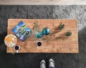 Coffee table solidly made of solid wood beams 120 x 60 - reclaimed wood table with industrial rollers