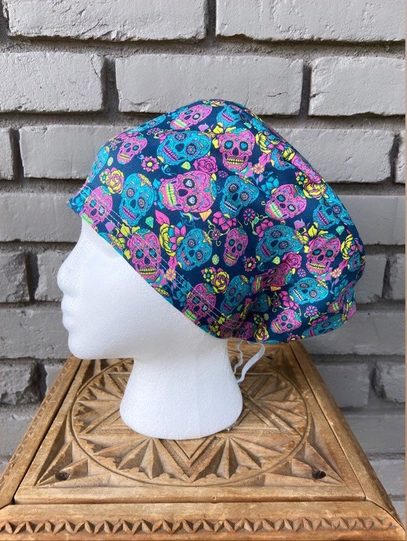 Halloween Scrub Cap, Day of the Dead, Sugar Skull, Surgical Scrub Cap, Scrub Caps for Women, Scrub Hats, Euro Pixie Toggle Hat
