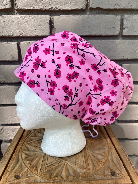 Pink and Magenta Cherry Blossom Floral Print - Surgical Scrub Cap -Handmade- Euro Pixie Toggle Scrub Hat