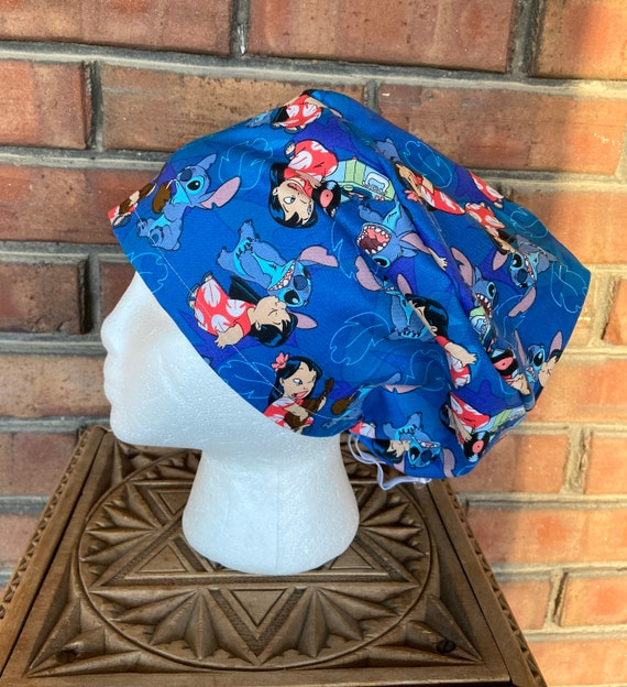 Lilo and Stitch Print  Surgical Scrub Cap -Handmade- Euro Pixie Toggle Hat