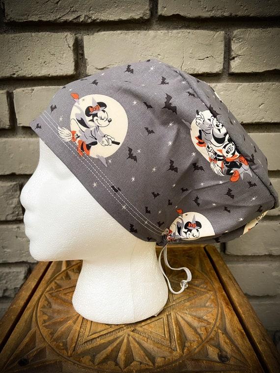 Disney Scrub Cap, Surgical Cap, Scrub Cap for Woman, Scrub Hats, Euro Scrub Cap for Woman with Toggle, Mickey Mouse, Minnie Mouse, Halloween