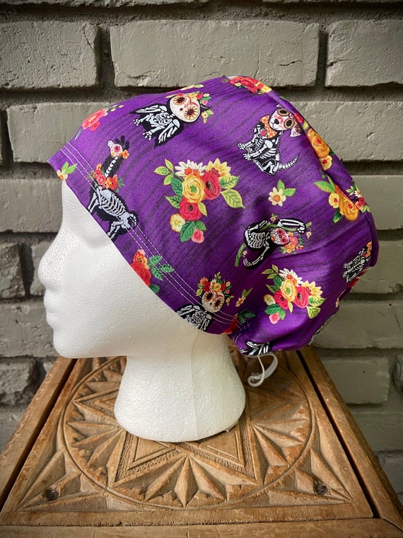 Sugar Skull Scrub Cap, Floral, Llama, Owl, Sloth, Surgical Scrub Cap, Scrub Caps for Women, Scrub Hats, Euro Pixie Toggle Hat, Halloween