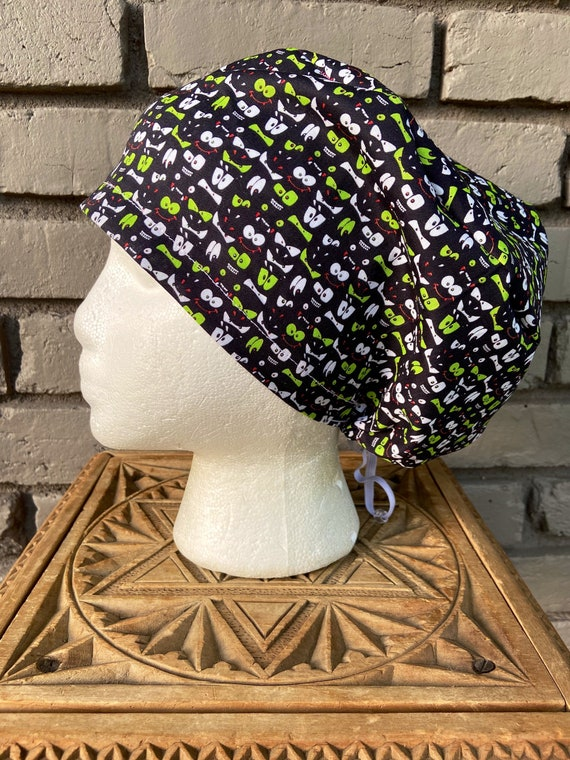 Halloween Scary Eyes Print - Surgical Scrub Cap -Handmade- Euro Toggle Hat