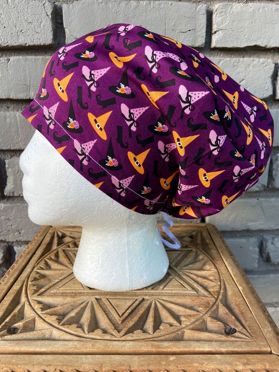 Halloween Purple Witch Print - Surgical Scrub Cap -Handmade- Euro Toggle Hat