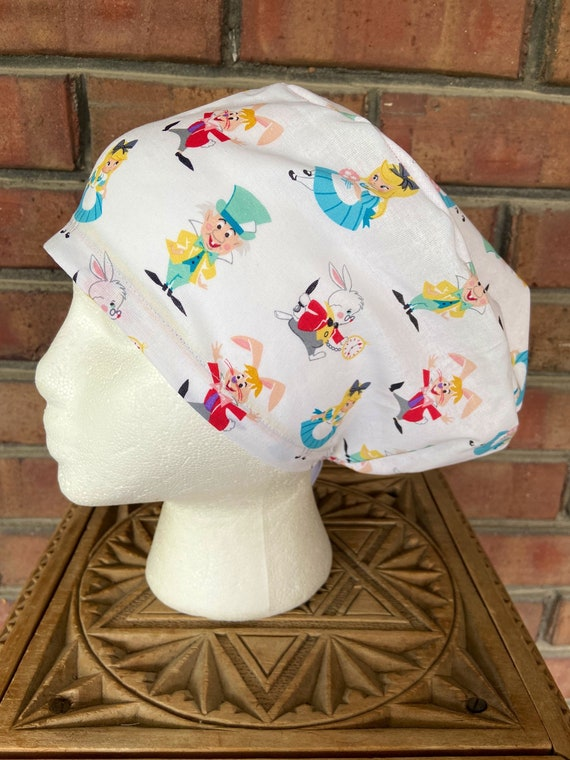 Disney Alice in Wonderland Handmade Surgical Scrub Cap with Free Shipping