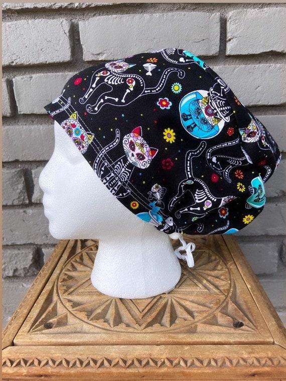 Halloween Scrub Cap, Day of the Dead, Sugar Skull, Cats, Surgical Scrub Cap, Scrub Caps for Women, Scrub Hats, Euro Pixie Toggle Hat