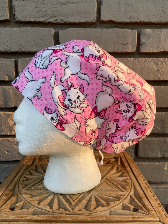 Disney Aristocats Many Faces of Marie Print - Surgical Scrub Cap -Handmade- Euro Pixie Toggle Hat