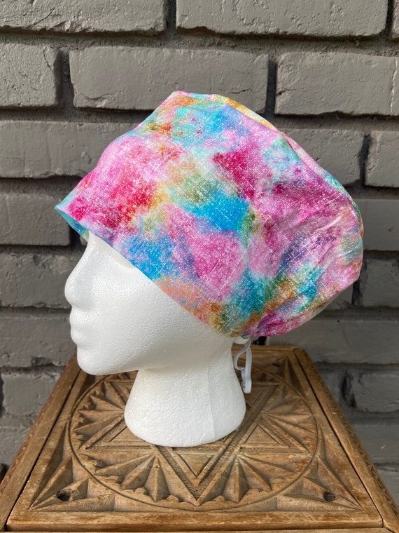 Colorful Scrub Cap, Surgical Scrub Cap, Scrub Cap for Woman, Scrub Hats, Euro Scrub Cap for Woman with Toggle, COTTON CANDY
