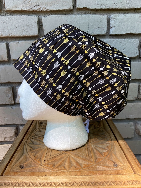 Black and Gold Arrow, Surgical Scrub Cap, Scrub Caps for Women, Scrub Hats, Euro Pixie Toggle Hat