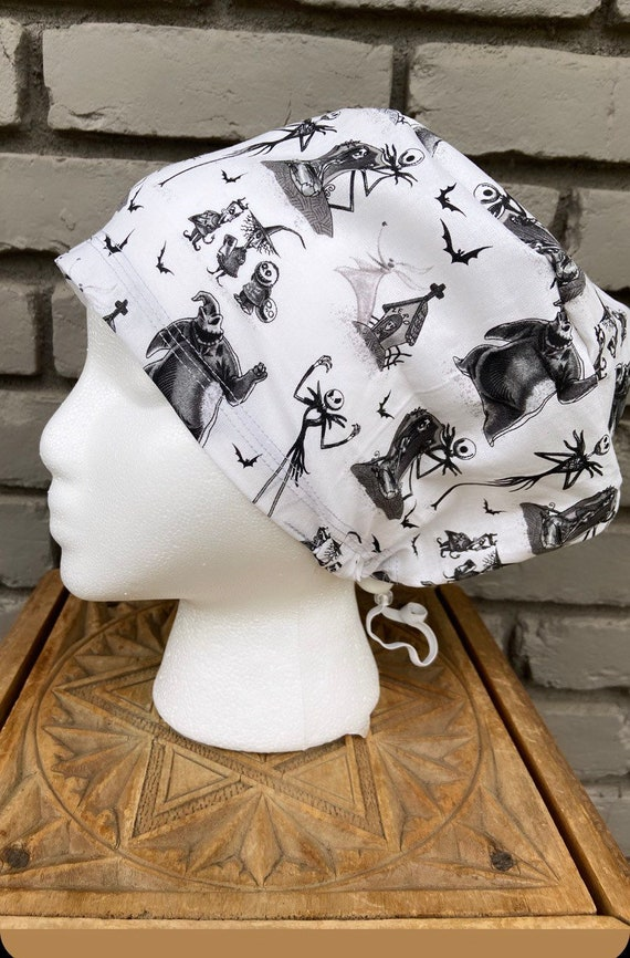 Nightmare Before Christmas Scrub Cap, Surgical Scrub Cap, Scrub Cap for Woman, Scrub Hats, Euro Scrub Cap for Woman with Toggle, Inspired