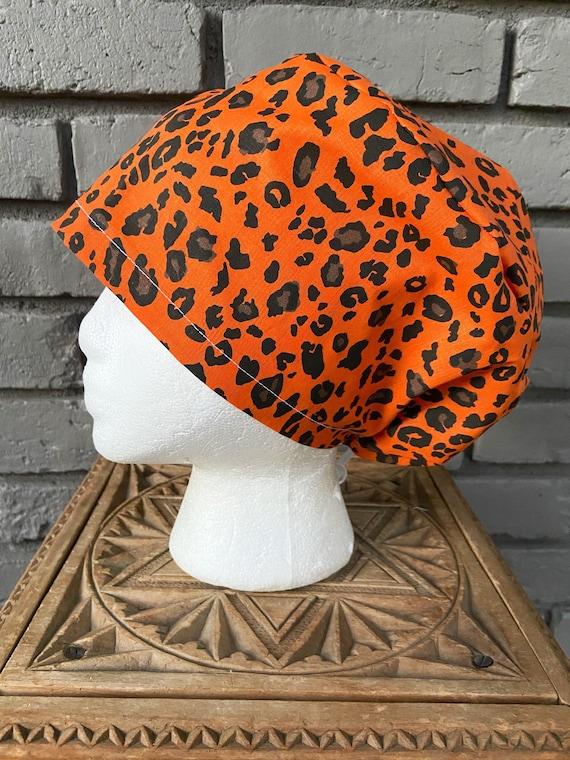 Fall Orange and Black Cheetah Print  Surgical Scrub Cap -Handmade- Euro Pixie Toggle Hat