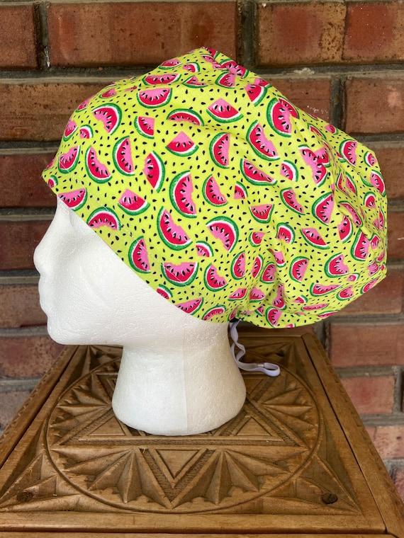Watermelon Print - Surgical Scrub Cap -Handmade- Euro Pixie Toggle Scrub Hat