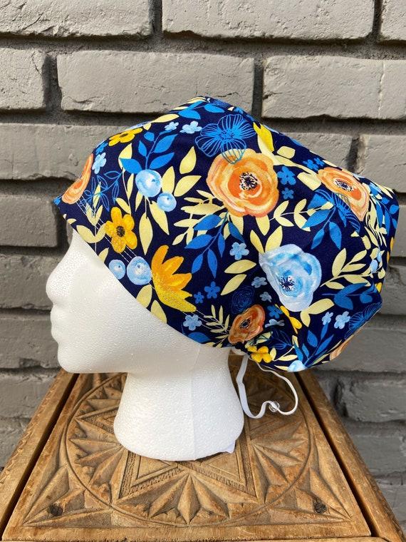Floral Scrub Caps, Surgical Scrub Cap, Scrub Cap for Woman, Scrub Hats, Euro Scrub Cap for Woman with Toggle