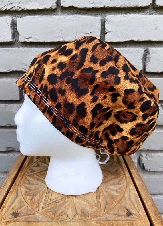 Cheetah Print Scrub Cap, Surgical Scrub Cap, Scrub Cap for Woman, Scrub Hats, Euro Scrub Cap for Woman with Toggle