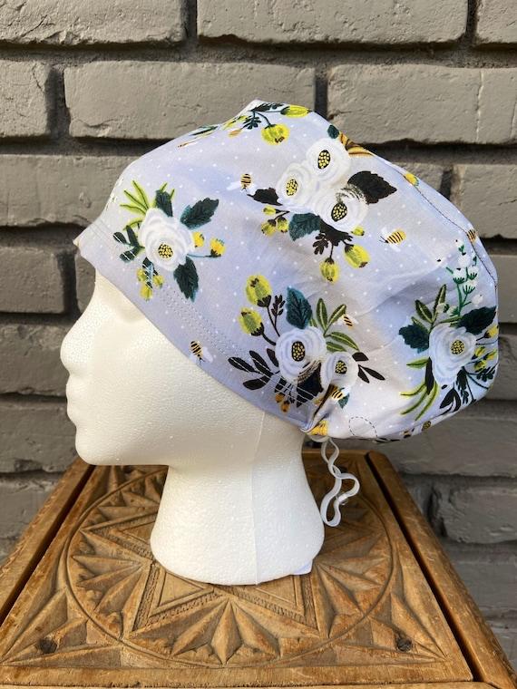 Floral Scrub Caps, Bee, Surgical Scrub Cap, Scrub Cap for Woman, Scrub Hats, Euro Scrub Cap for Woman with Toggle