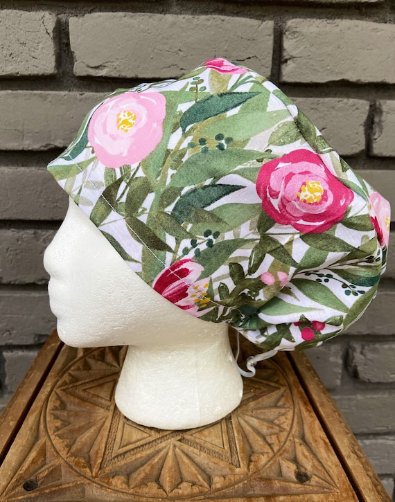 Floral Scrub Cap, Forest Green and Pink Flower, Surgical Scrub Cap, Scrub Caps for Women, Scrub Hats, Euro Pixie Toggle Hat
