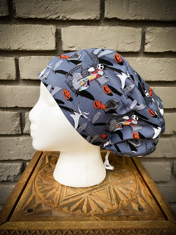 Nightmare Before Christmas Scrub Cap, Surgical Scrub Cap, Scrub Cap for Woman, Scrub Hats, Euro Scrub Cap for Woman with Toggle, Halloween
