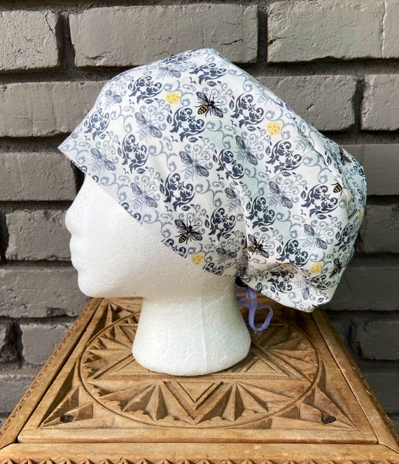 Bee Scrub Cap, Damask, Surgical Scrub Cap, Scrub Caps for Women, Scrub Hats, Euro Pixie Toggle Hat