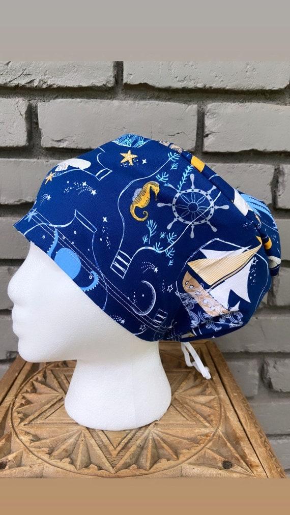 Ocean Scrub Cap, Surgical Scrub Cap, Scrub Cap for Woman, Scrub Hats, Euro Scrub Cap for Woman with Toggle, Seahorse