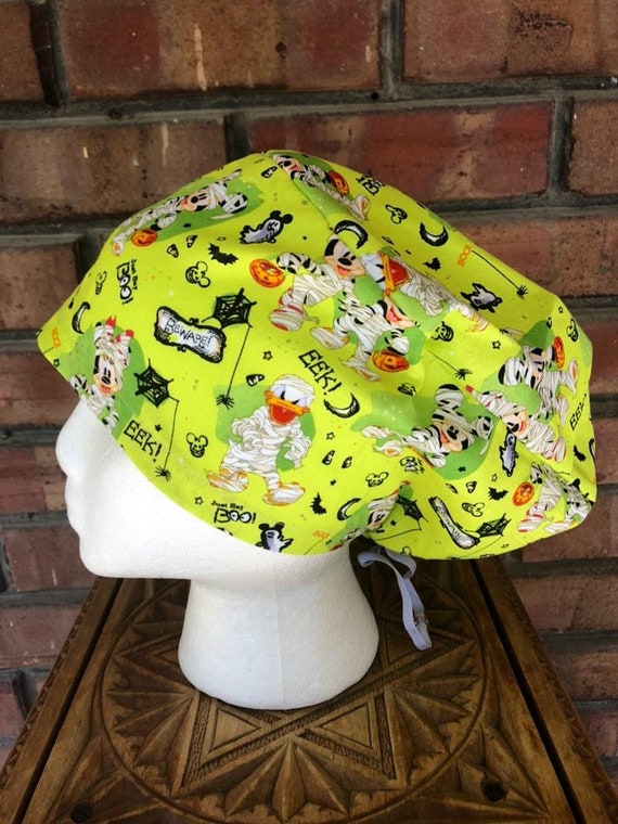 Mickey and Minnie Zombie Print-  Surgical Scrub Cap -Handmade- Euro Toggle Hat